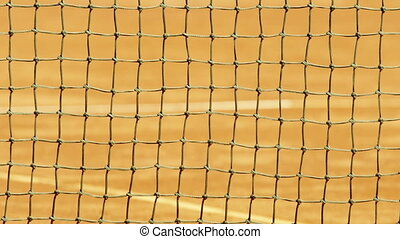 Tennis net with shallow depth of field. - Detail of tennis...