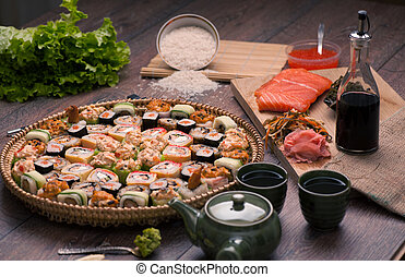 Sushi and rolls - Japanese food - sushi and rolls