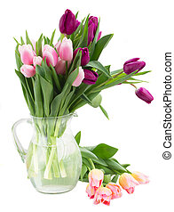 bouquet of tulip flowers in vase - bunch of pink and violet...