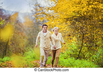 Active seniors having fun in nature - Active seniors having...