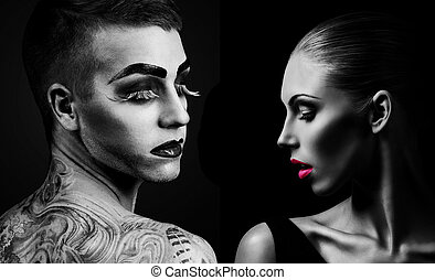 Professional Make up concept Portrait of young beautiful man...