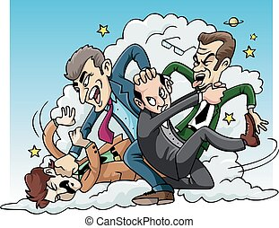 Four men brawl - Cartoon illustration: four men fighting