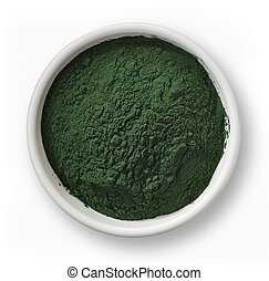 Spirulina algae powder - White bowl of spirulina algae...