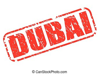Dubai red stamp text on white