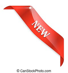 New - red tape - Red corner ribbon with the inscription new...