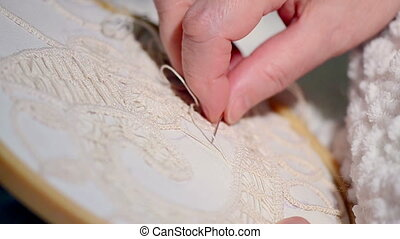 Grandmother Crocheting - A close look at an macrame...