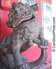 stone lion - A stone lion of Chinese temple,