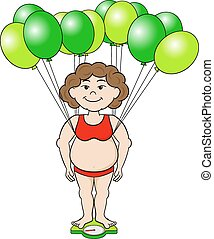 overweight woman outwits a bathroom scale with balloons