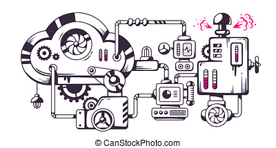 industrial illustration of the mechanism of cloud. -...