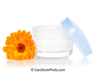 Face cream - Closeup of jar of moisturizing face cream and...