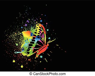 Rainbow ink butterfly on black background. Vector