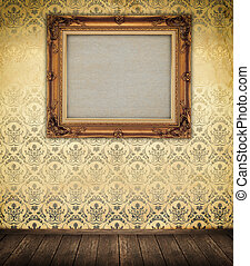 Old-fashioned wooden frame on a wall - Old-fashined wooden...