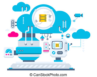 industrial illustration background of the cloud technology...