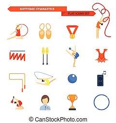 Gymnastics Icon Flat - Rhythmic gymnastics icon flat set...