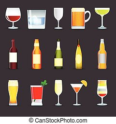 Alcohol Drinks Icons Set - Alcohol drinks decorative icons...