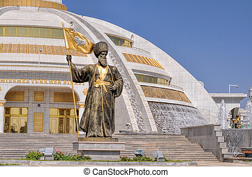 Monument of independence in Ashgabat - Statues around...