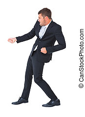 Businessman contorted with hands out on white background