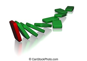Domino - 3d rendered set of collapsing domino pieces