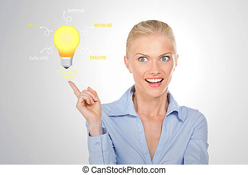 portrait of surprised girl - business woman has ideas for...