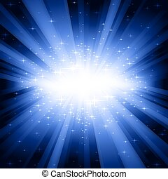 Blue light burst with stars - Festive explosion of light and...