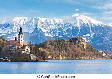 Bled, Slovenia, Europe - Panoramic view of Julian Alps, Lake...