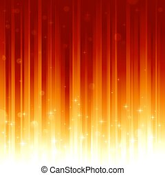Stars and defocused light dots on red golden vertically...