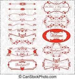 Set of page decoration with retro elements, vector