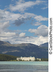 Canadian landscape in Lake Louise with hotel. Alberta. Canada