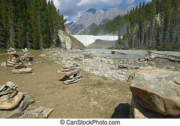 Canadian landscape with forest and Wapta Falls. Alberta....