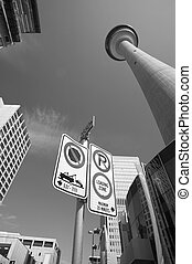 Calgary downtown view with broadcast tower in Alberta. Canada