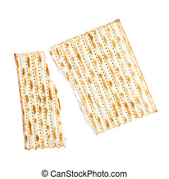 Cracked machine made matza flatbread - Cracked in two pieces...