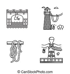 Black outline vector icons for rope jumping - Set of black...