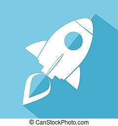 Retro Rocket Blue Icon.Flat Style