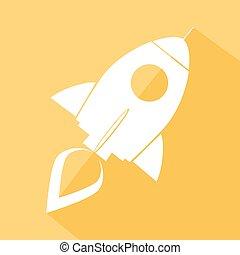 Retro Rocket Yellow Icon