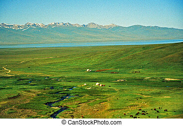 asian steppe - large vistas of asian steppe in Kyrgyzstan...