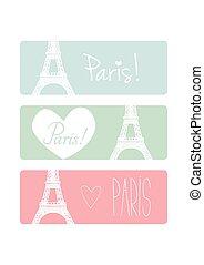 pastel, komplet, miłość, Paryż, Wektor, Chorągiew