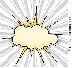 Retro Comic Sunburst Cloud Banner