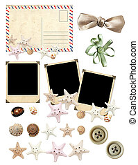 Set of old postcard, photos and starfishes - Collection of...