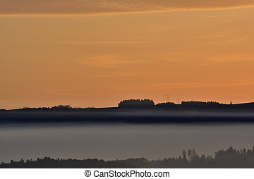 Landscape in the sunset and fog - Landschaft im Abendrot und...