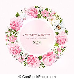 Border of flowers with place for a text.