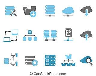 web host icons set, blue series