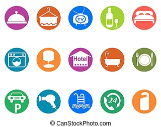 hotel buttons icon set