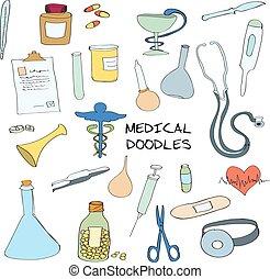 Medical symbols emblems doodle set - Medical healthcare...
