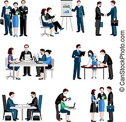 Teamwork Icons Set - Teamwork icons set with men and women...