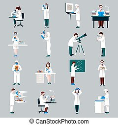 Scientists Characters Set - Scientists characters set with...