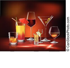 Drinks Decorative Set - Alcohol drinks beverages in glasses...