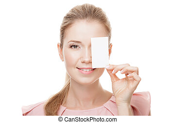 Beautiful woman with perfect skin and face holding empty blank c