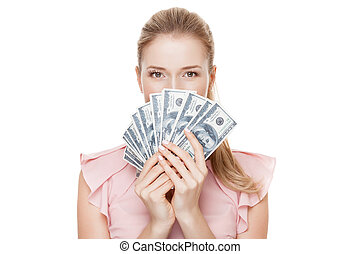 Young happy woman with dollars in hand. Isolated on white backgr