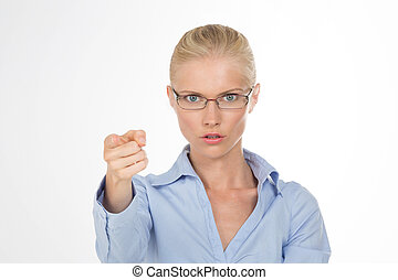 portrait of serious pretty lady - angry girl accuse of...