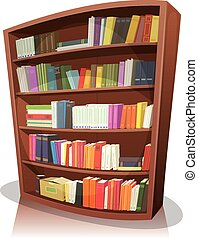 Cartoon Library Bookshelf - Illustration of a cartoon home,...